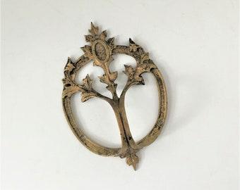 Antique Cast Bronze Door Pull, Rare Italian Drawer Handle, Vintage 1920s Tree of Life Knob, Salvaged Furniture Hardware, Ornate Art Nouveau