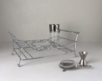 Vintage Mid Century Chrome Bar Caddy Holds Ice Bucket and Six Each Highball and Shot Glasses
