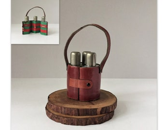 Vintage Travel Bar, Liquor Flasks in Leather Carrier, Mid Century Barware, Portable Spirits Bottles, Cognac Gin and Whisky, Gifts for Him