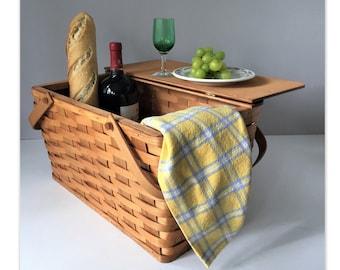 Vintage Picnic Basket, Food Hamper, Woven Splint Basket With Folding Handles, Falcon Eagle Logo on Lid, Tailgate Camping Wedding Shower Gift