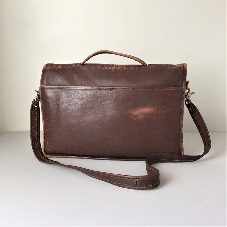 Naturally Distressed Leather Messenger Bag by Laura USA