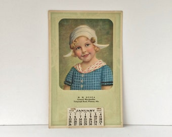 "1930 Calendar, Unused Vintage Calendar, ""A Little Bit of Holland"" Advertising Calendar, Dutch Girl Wall Calendar, Depression Era"