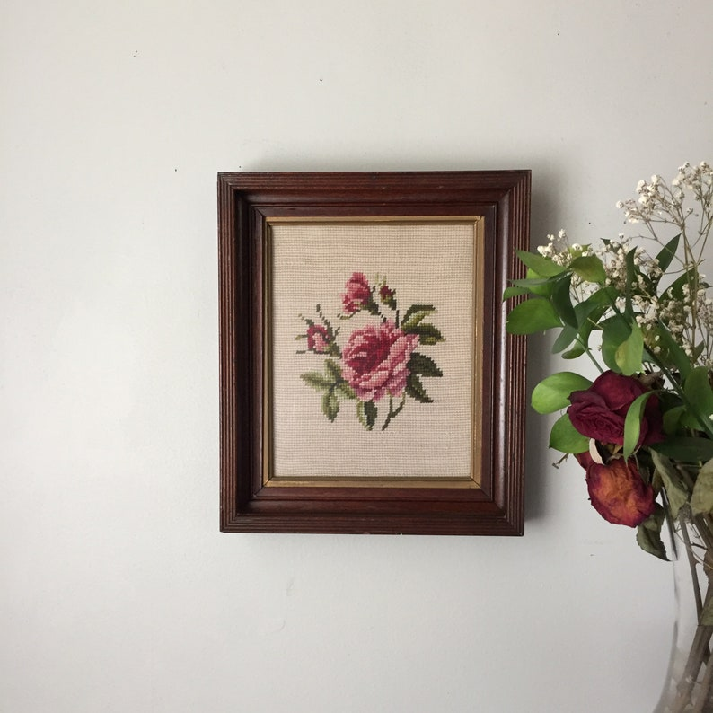 Vintage Floral Needlepoint in Antique Shadowbox Frame image 0