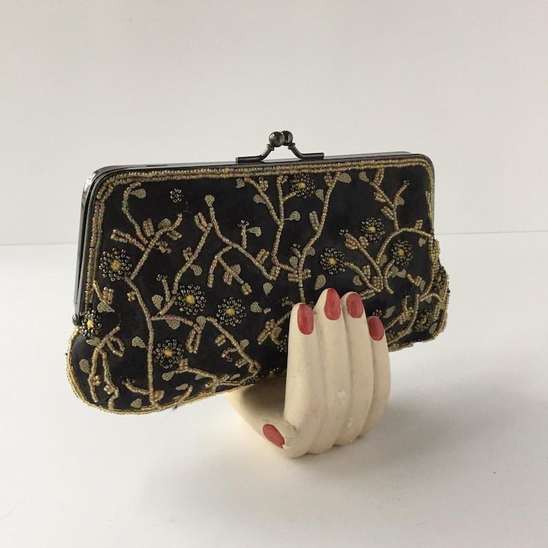 c9776ffa8d0 Lancome tas Vintage Beaded koppeling met zwarte geborduurde | Etsy