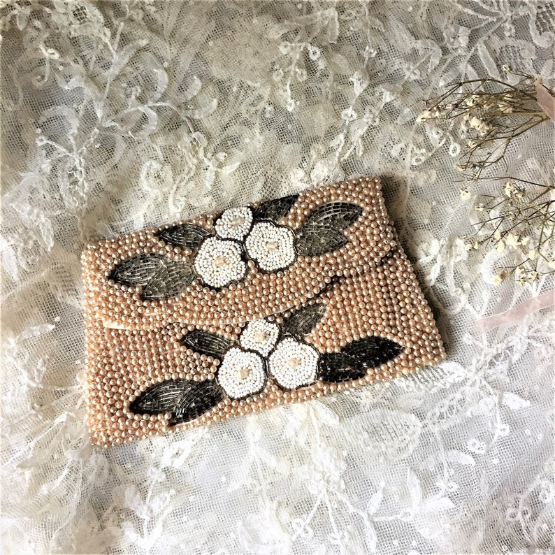 Vintage Beaded Evening Clutch with Faux Pearls image 0