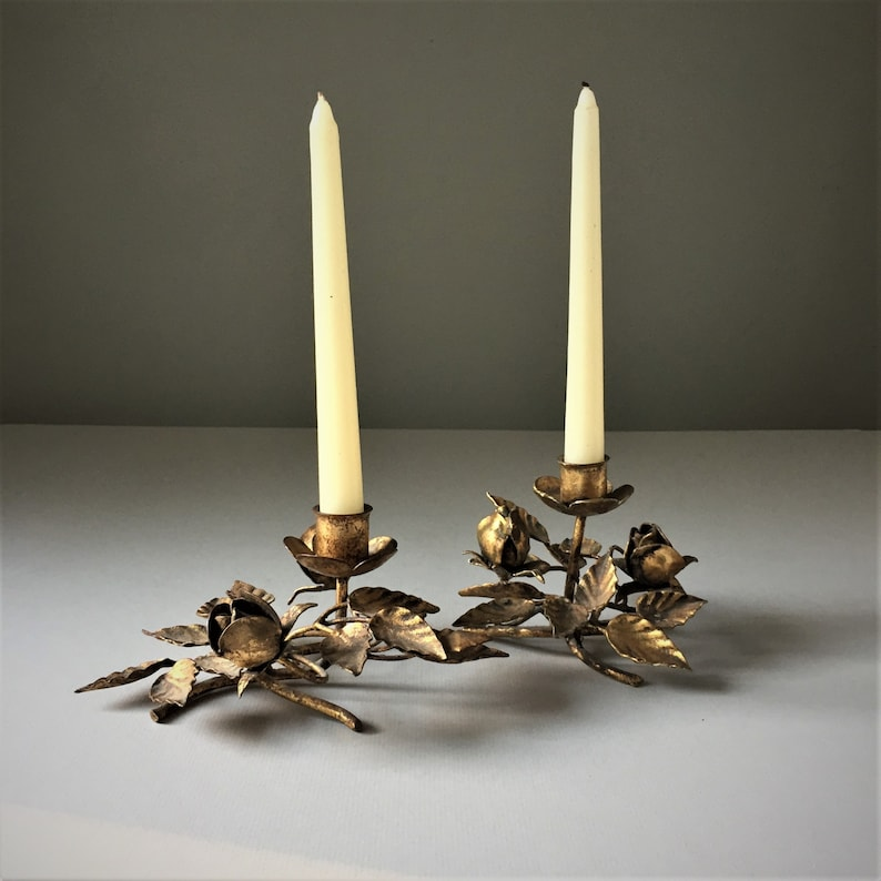 Florentine Gilt Toleware Candleholders A Pair image 0