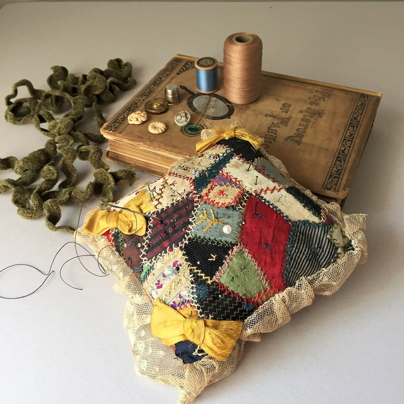 Large Antique Crazy Quilt Pin Cushion image 0