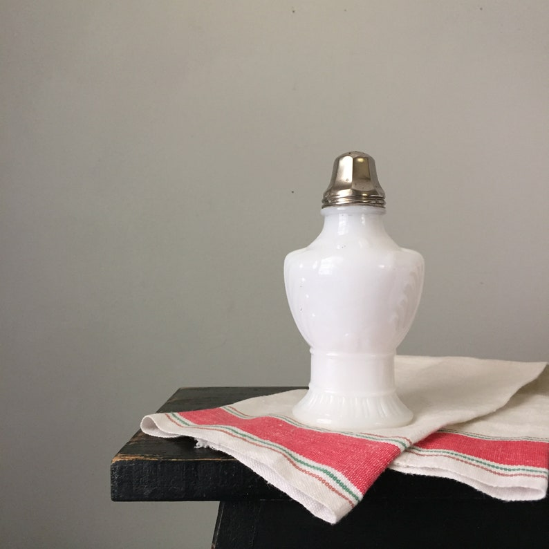 Large Milk Glass Shaker with Metal Top image 0