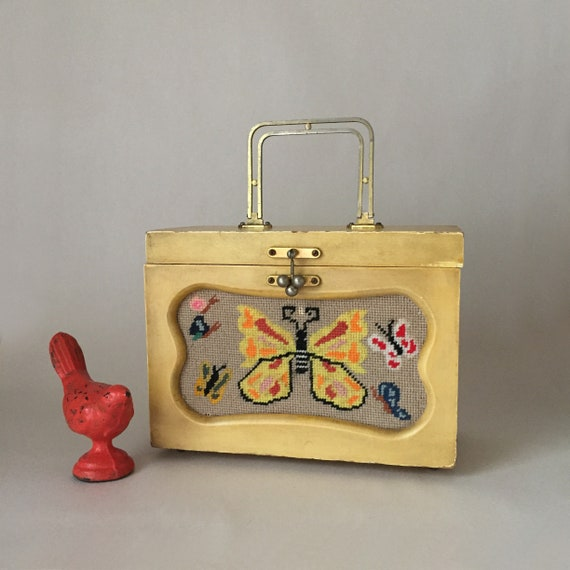Vintage Yellow Box Purse with Colorful Needlepoint