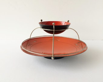 Vintage 1960s Lacquerware Chip and Dip Bowls on Stand, Red Asian Motif Japanned Style Chip and Dip Set, Japanned Midcentury Retro Partyware