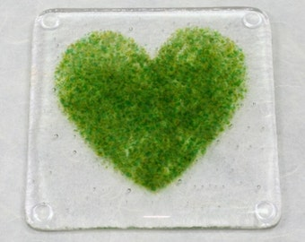 Green Heart Fused Glass Coaster