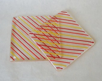 Red, Orange and Yellow Striped Fused Glass Coasters - Pair