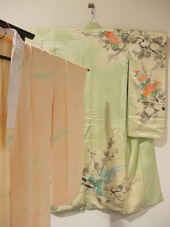 Beautiful Embroidered Furisode Kimono and Juban Un