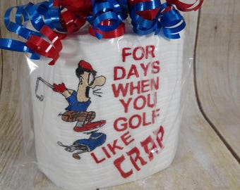 Custom made embroidered golfer toilet paper