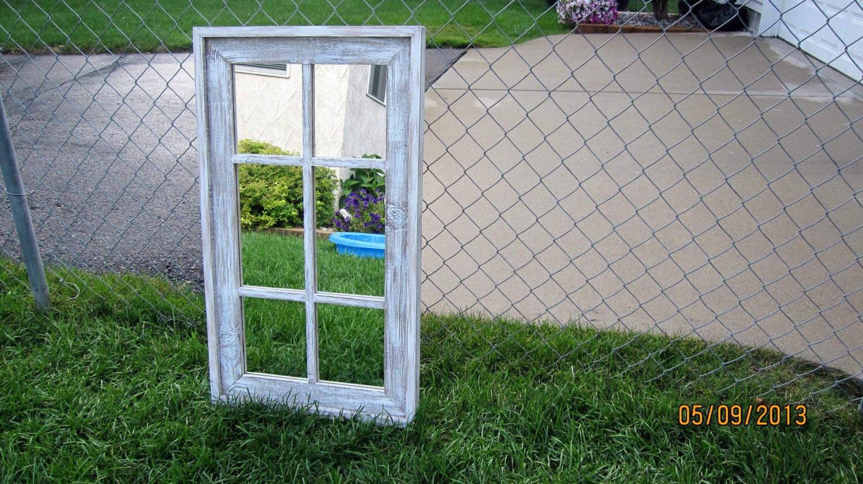 Barnwood Mirror 6 Pane White Washed Etsy