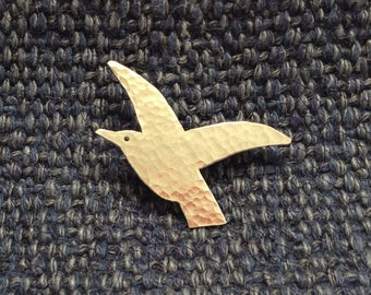 Recycled aluminium Seagull brooch or necklace. Light weight and non tarnish.