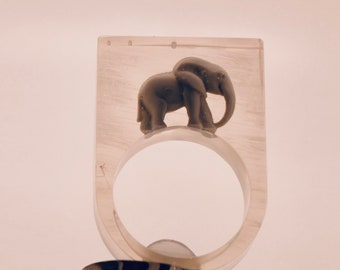Baby Elephant in resin chunky cocktail ring.