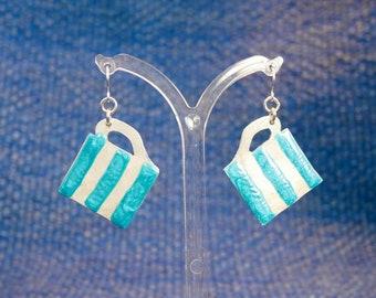Upcycled aluminium Cornishware mug earrings.