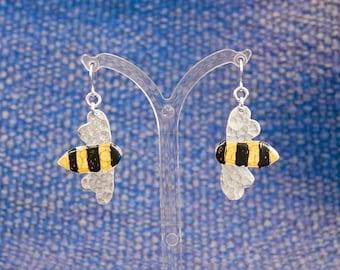 Up cycled aluminium Bee earrings