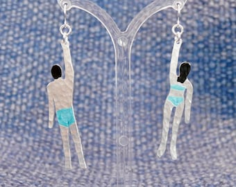 Upcycled aluminium swimmer earrings with silver hooks