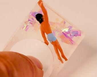 Swimmer in  clear resin Cocktail ring