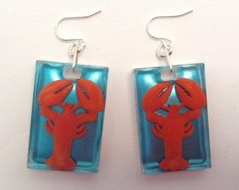 3D Lobster in resin earrings.