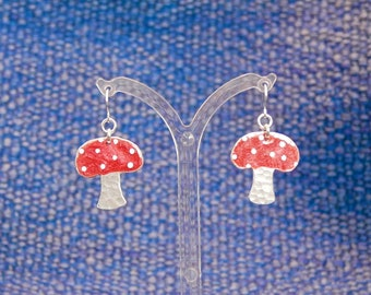 Up cycled aluminium Toadstool earrings with silver hooks.