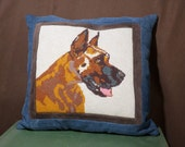 Amazing Great Dane vintage needlepoint and suede pillow
