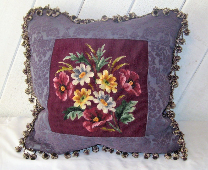 OOAK purple velvet pillow floral square Eggplant needlepoint pillow tassle fringe repurposed large slouchy hand made pillow upcycled