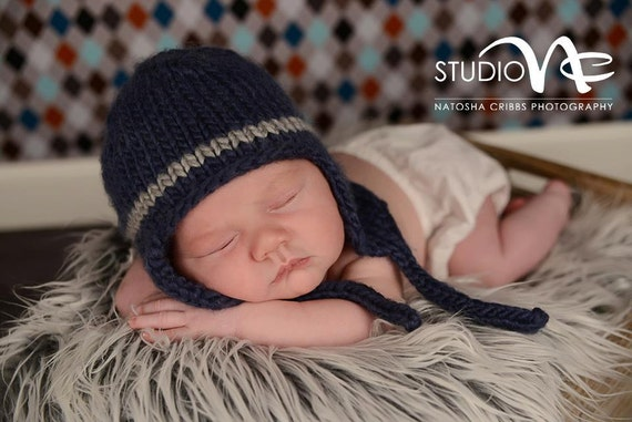 Newborn Photo Prop Baby Bomber Hat Navy Blue Bomber Hat  76e8fdebb66