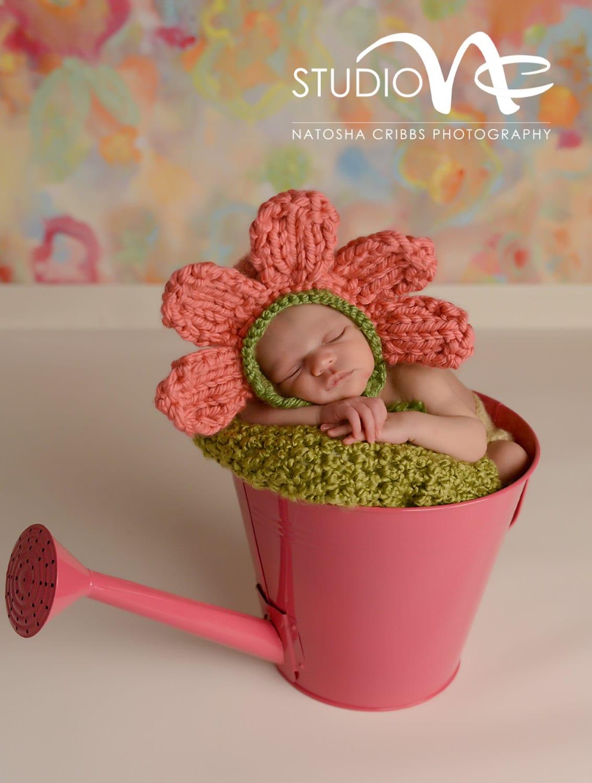 Baby Flower Hat Baby Flower Costume Newborn Pink Flower Hat Etsy