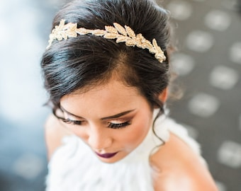 Wedding Gold Headband. Gold Bridal Headpiece. Wedding Hair Piece {Holly}