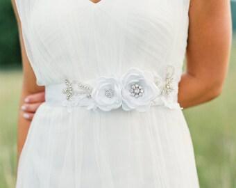 White Bridal Gown Flower Sash. White Wedding Flower Sash. Bridal Gown Flower Sash.