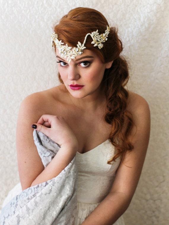 Bridal Hair Accessory HARLOW Bridal Headpiece Headpiece Bridal Headpiece Gold Bridal Headpiece Wedding Hair Vine As Seen in British Vogue