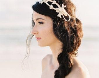 Gold Bridal Crown. Bridal Headband. Wedding Tiara {Love}