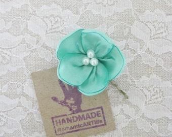 Mint Flower Hair Pin. Mint Flower Hair Piece. Bridesmaid Hair Accessory.