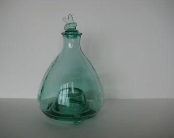 SALE// Primitive bee trap, green glass