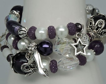 NEW Three Strand Wrap Memory Wire Bracelet with Dangling Charms