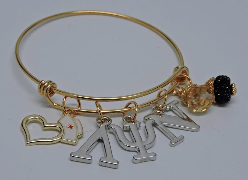 NEW Lambda Psi Nu Nursing Sorority Bangle Bracelet image 0