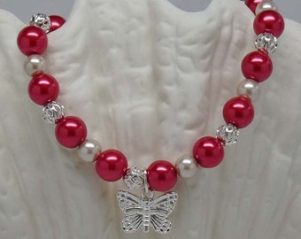 "BUTTERFLY IN RED:  8"" Hand Beaded Elegant Bracelet Accessory Gift"