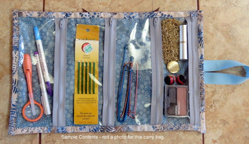 with 4 inside see through zippered pockets. Jewelry  Craft Caddy