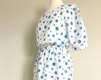 Vintage BLUE DOTTY DRESS/Polkadot Midi Dress/size Medium-Large