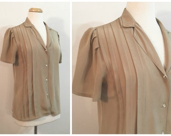 e72c1948c3eb09 Vintage TAUPE BLOUSE / size Small