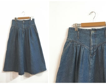 58e9b228977 Vintage DENIM PRAIRIE MIDI skirt   size Medium