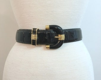 Vintage BLACK PATENT LEATHER Belt with Gold Accents / size large