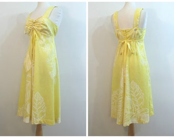 Vintage YELLOW PRINTED SUNDRESS / size Small