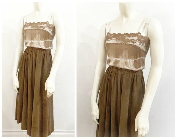 Vintage BROWN SUEDE MIDI Skirt / size Small