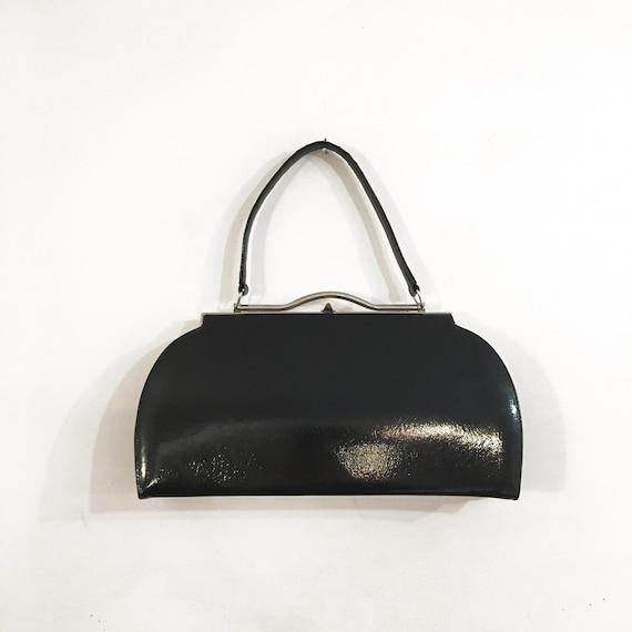 Vintage 1960s BLACK PATENT HANDBAG / Top Handle Ba