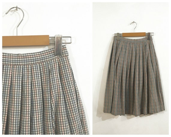 Vintage PASTEL PLAID SKIRT / size Small