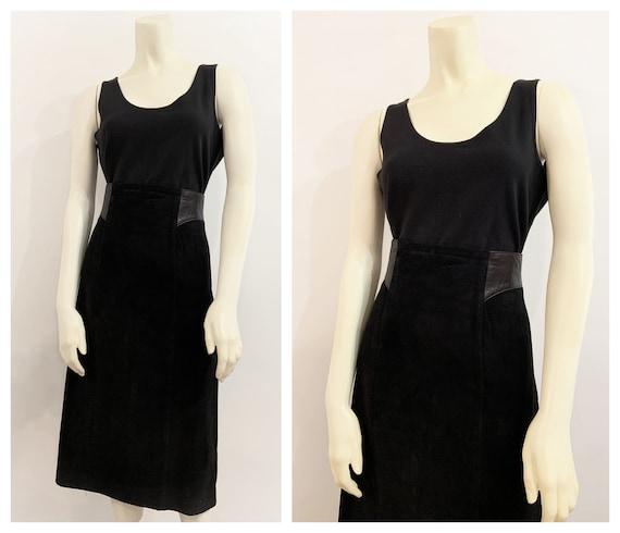 Vintage BLACK SUEDE MIDI Skirt / size Large